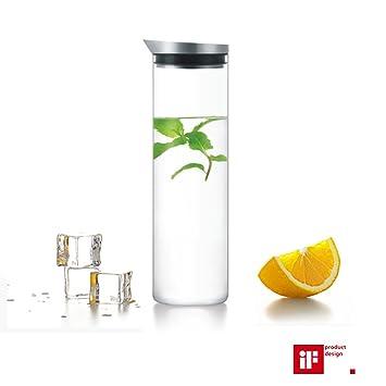 LeOx- Jarra de Agua Cristal 1L Licorera Garrafa Botella Vidrio de Borosilicato / acero inoxidable Jarra con Tapa: Amazon.es: Hogar