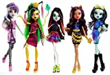 (US) Monster High Scaris City of Fright Complete Set of 5 Fashion Dolls: Skelita Calaveras, Jinafire Long, Clawdeen Wolf, Frankie Stein, Rochelle Goyle