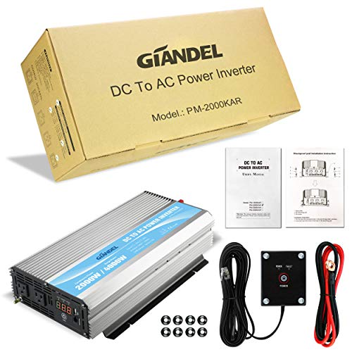 GIANDEL 2000W Power Inverter 12V DC to 110V 120V AC with Remote Control and LED Display Dual AC Outlets & USB Port for RV Truck Boat by Giandel (Image #5)