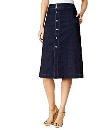 df090af291c4 Style   Co.. Petite Button-Down Denim Midi Skirt (Rinse