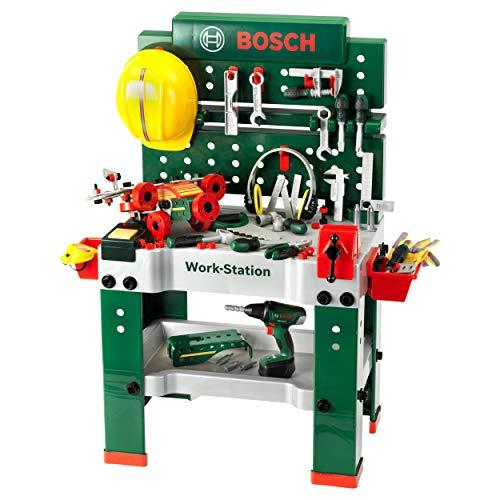 Theo Klein 8485 Banco de trabajo, 150 piezas,incluye destornillador eléctrico, set de construcción, máquina amoladora, Destornillador, a partir de 3 años, 62 cm x 42 cm x 100 cm