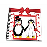 3dRose db_155256_2 Red Hearts Penguin Bride and Groom Wedding Couple Memory Book, 12 by 12-Inch