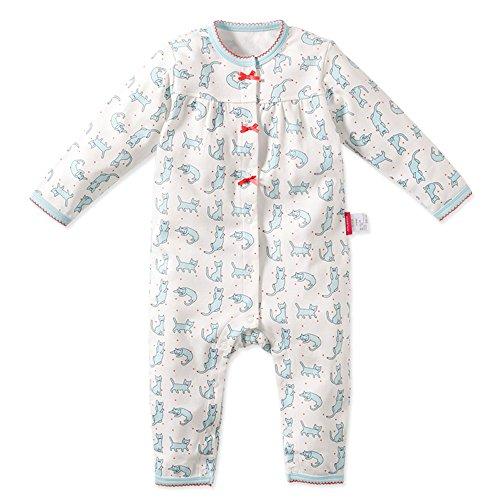 Baby Nest 베이비용 롬퍼스(rompers) 커버 올 앞 열림 소녀 사내 아이 긴 소매 고양이무늬 코튼100% 블루 9-12M
