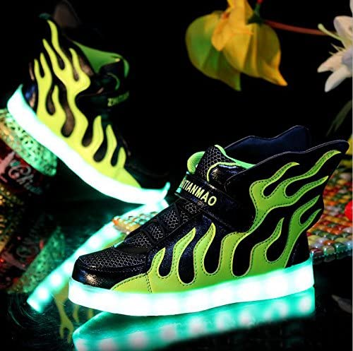 Gaorui Child Boy Girl Flame Wing Luminous Shoes LED Light USB Charge Sneaker Trainers