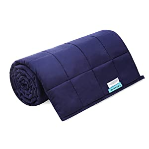 LAVEDER Weighted Blanket for Adult 10lbs 41''x 60'' Cooling Heavy Blanket with Glass Beads, 100% Cotton Weighted Blanket, Navy
