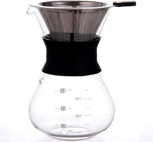 YQQ-Cafetera Pour Over Coffee Maker, Manual Hand Coffee Dripper-Tough Borosilicate Glass Carafe Plus Reutilizable Rejilla de Malla de Acero Inoxidable Drip Coffee Maker: Amazon.es: Hogar