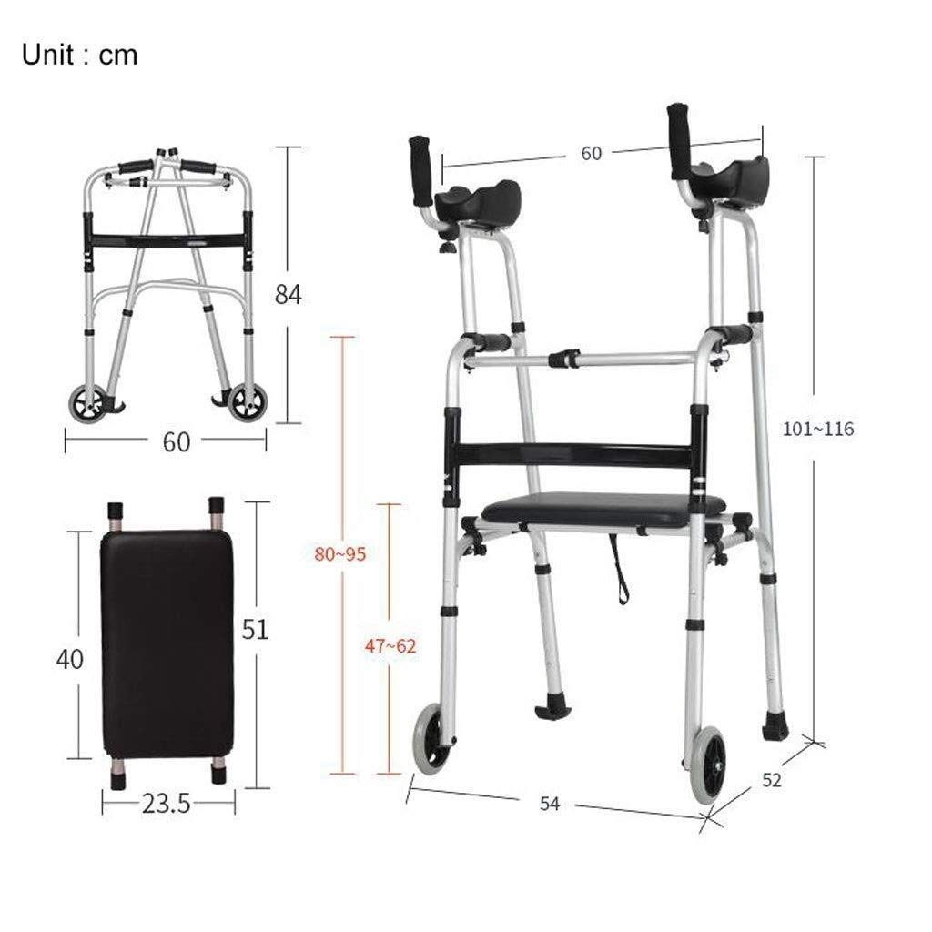 Folding Lightweight Aluminium Walking Frame with Wheels, Ergonomic Handle and Handbag Walking Mobility Aid Auxiliary Walking Safety Walker (Color : Deluxe Version) by YL WALKER (Image #9)