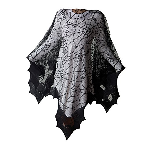 Halloween Bats Poncho with Spider Webs, Costume, by Heritage Lace, 58