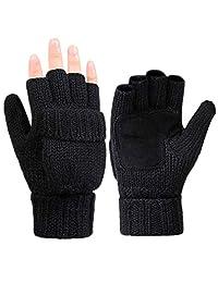 Lwqoa Winter Men Women Gloves Warm Knitted Wool half-finger Mittens Gloves(Black)