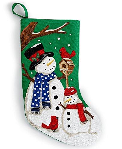 Crewel Stitch - Holiday Lane 18-in Crewel Stitch Snowman Stocking, Green