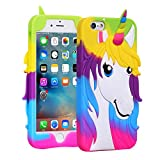 2D Rainbow Unicorn Case for iPhone 8, iPhone 7 4.7' Soft Silicone 3D Cartoon Animal Cover, Gift for Daughter Son, Kids Girls Child Cute Gel Rubber Kawaii Character Fashion Protector for iPhone8 4.7'