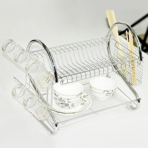 Stainless Steel Dish Drying Rack, 2 Tiers Kitchen Dish Holder Drainer Rack Tray, Cutlery Holder Organizer