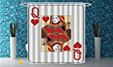 iPrint Personalized Shower Curtain [ Queen,Queen of Hearts Playing Card Casino Decor Gambling Game Poker Blackjack Deck,Red Yellow White ] Bathroom Accessories