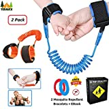TERAVEX Anti Lost Wrist Link - Comfortable Cotton Wristband ( Strap - Harness - Leash - Rope ) Safety Walking Hand Belt for Child - Set 2 bracelets + 2 Mosquito Repellent Bracelets + Ebook Kid Safety