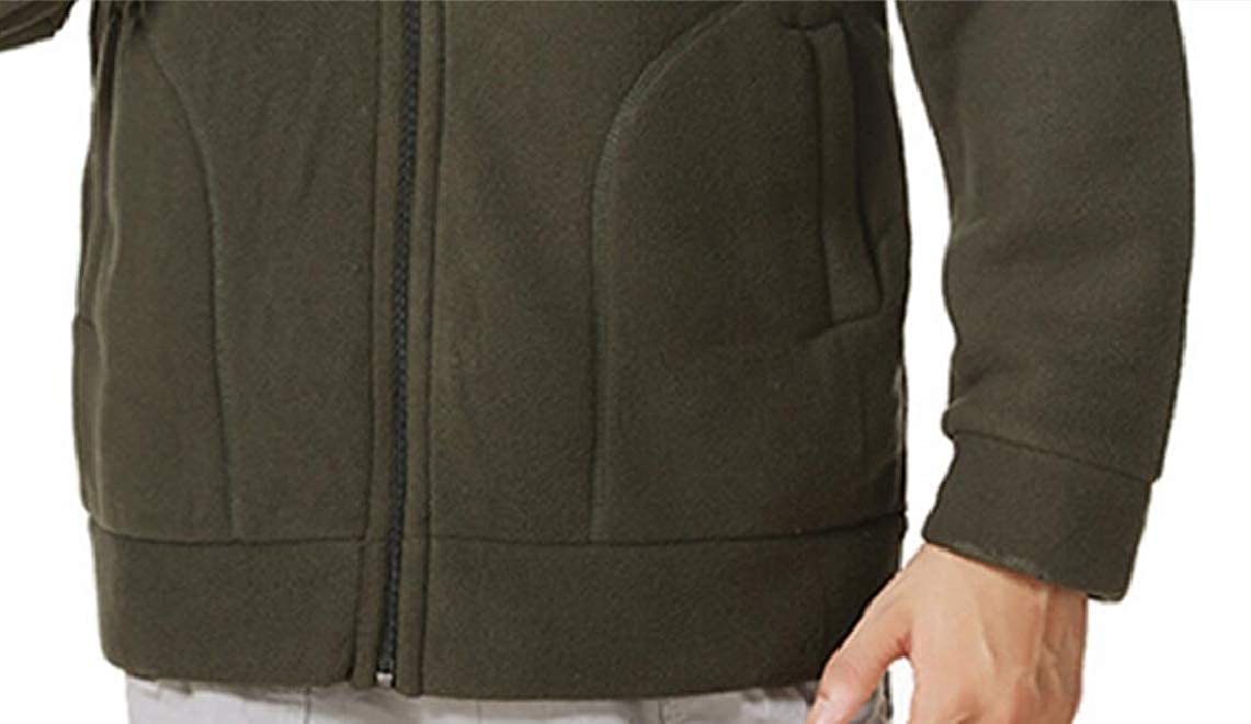 Yayu Mens Casual Front-Zip Thick Stand Collar Windproof Jogger Sweatshirt Jackets