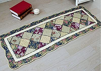 """Cotton Quilted Patchwork Pastoral Style Area Rugs/Carpet,Green Plaid Pattern Anti Slip Bedroom Living Room Floor Rugs,20""""x53"""""""