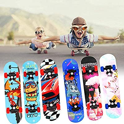 HNaGRDMMP Children Skateboard 23.6 inch Complete Skateboards for Kids Beginners 4 Wheel Skateboards with 7 Layers Maple Board Double Rocker for Outdoor Extreme Sports : Sports & Outdoors