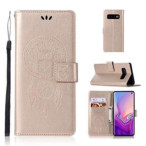 "Galaxy S10 Case, Galaxy S10 6.1"" Wallet Case, Dooge Premium Leather Folio Flip Protective Case with Cash Card Slots Holder Magnetic Closure Wrist Strap for Samsung Galaxy S10 (2019)"