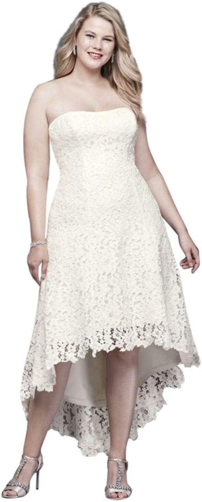 High-Low Tea-Length Lace Plus Size Wedding Dress Style ...