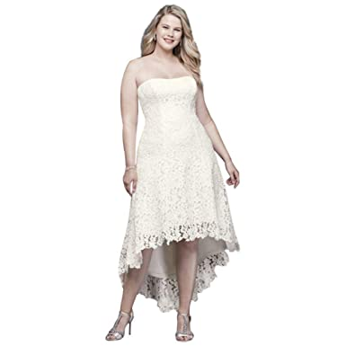 aac6cce8e51 High-Low Tea-Length Lace Plus Size Wedding Dress Style 9WG3925 at Amazon  Women s Clothing store