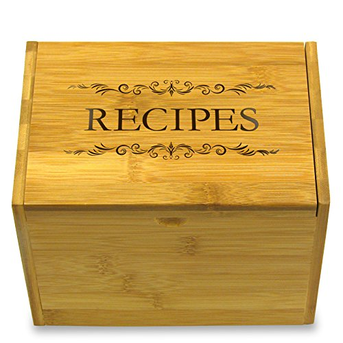 - Recipe Box with RECIPES Printed on Lid Bamboo by Cookbook People