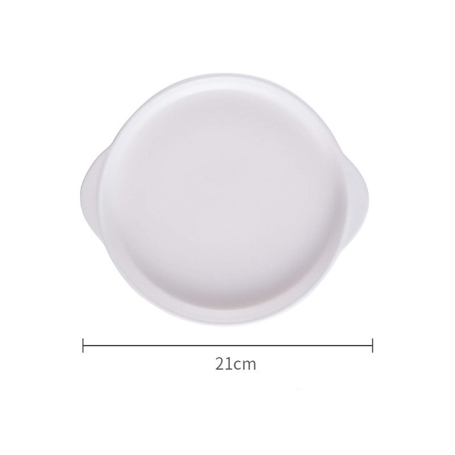 Nordic 8 inch Round Plate with Handle Baking Dish Matte Glazed Ceramic Plate Ins Popular Salad Plate,White