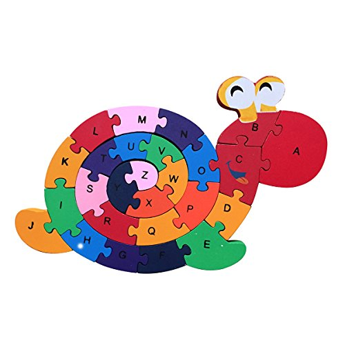 Meshion Colorful Cute Snail Letter & Numbers Puzzles Wooden Winding Jigsaw Puzzles Toys For Preschool Educational Learning For Toddlers,Kids,Boys,Girls,3-5 Years Old or Up (Jigsaw Snail)
