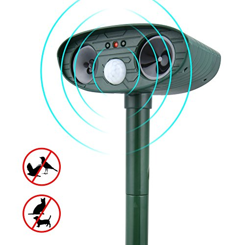 Electronic Animal Repellent - greatall Solar Ultrasonic Animal Repellent, Waterproof Animal Repeller-Sound Dog deterrent,Mouse Repellent, Squirrel Trap Repeller,Bird Deterrent-Motion Activated Electronic Pest Control [UPGRADED]
