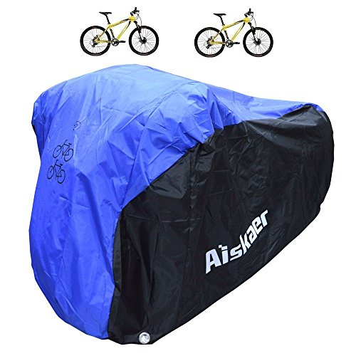 Aiskaer 2 Bikes Cover, Heavy Duty 210D Oxford Fabric, Waterproof Bicycle Covers Rain Sun UV Dust Wind Proof,All Weather Protection for Mountain, 29er, Road, Cruiser, Electric & Hybrid Bikes Heavy Duty Rain Cover