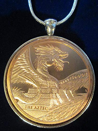 The Aztec DRAGON Quetzalcoatl Rattle Snake 1 Oz Copper Round Sterling Silver Necklace (Rattle God)