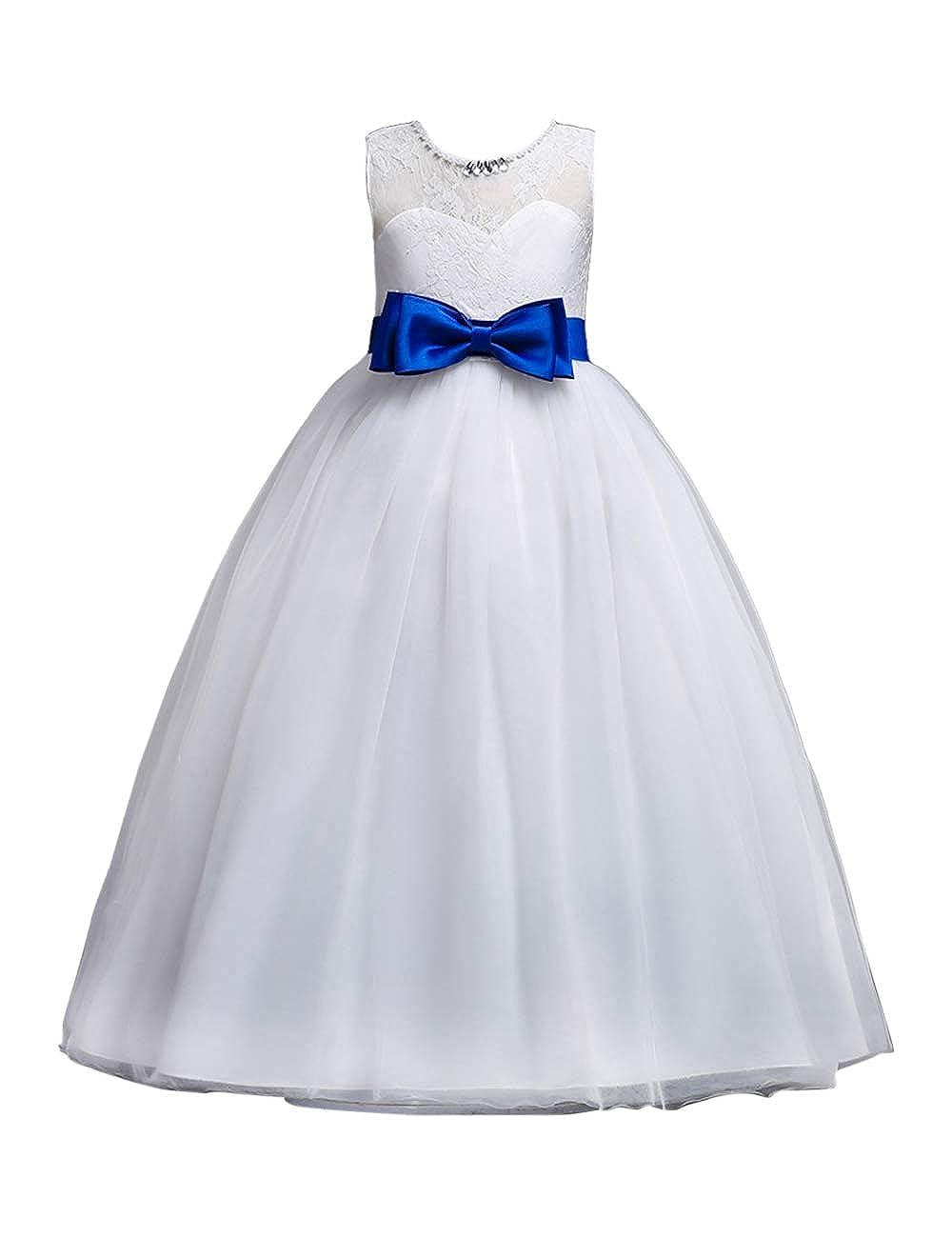 Girls Flower Chiffon Dress Bridesmaid Party Princess Prom Wedding Christening