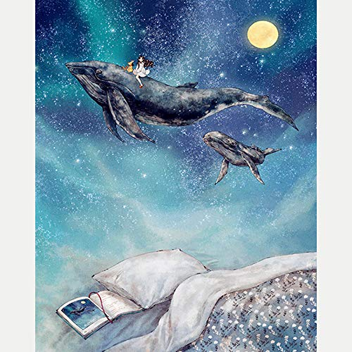 5D Diy Diamond Painting Dream Whale And Girl?Embroidery Full Round Diamond Embroidery Cross Stitch Full Square Fashion Home Decor(Frameless)