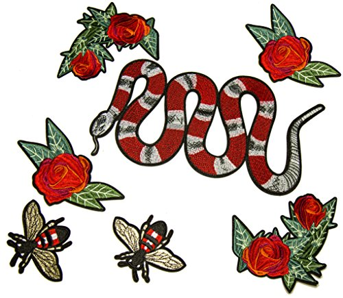 Est Mundum Motorcycle Patches Designer Snake | Bee | Tiger | Rose | Multi-Pack Kit | Embroidered Iron On Patch For Jackets and Backpacks | Patches (Snake With (Tigers Embroidered Towel)