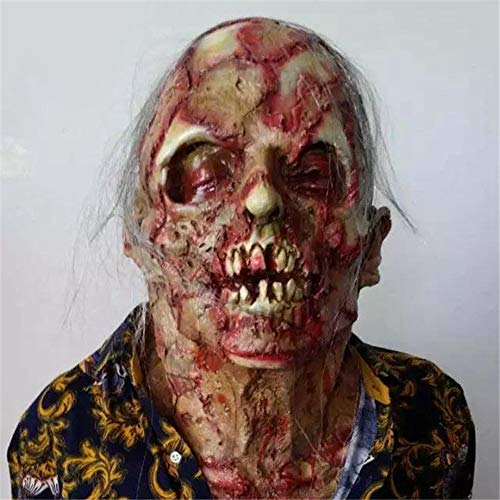 WEIZHUANGZHE Halloween Horror Mask Zombie Masks Party Cosplay Bloody Disgusting Rot Face Scary Masque Masquerade Mascara Terror Masker Latex,Clear]()