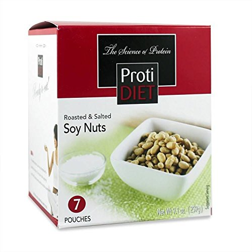ProtiDiet Roasted and Salted Soy Nuts (7 bags of 1.305 oz, net 9.1 oz) - High Protein Low Carbs Soy Nuts by Protidiet