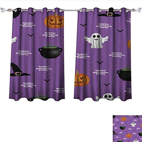 Philiphome Blackout Window Curtain Halloween Pattern on a Purple Background Tie Up Printed Blackout Curtain W108 x -