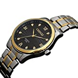 Fq-107 Gold Case Stainless Steel Band Stylish Men's Business Quartz Wrist Watches with Diamonds Black