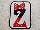 Minnie Mouse Red White Polka Dot Bow MONOGRAM Letter Z Embroidered Iron-on Patch