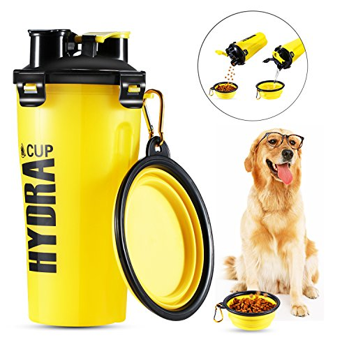 Pet Water Cup Bottle,2 in1 Dual Chambered Hydration Bottl...