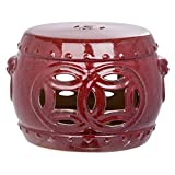 Safavieh Castle Gardens Collection Mei Double Coin Red Glazed Ceramic Garden Stool