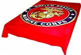 Brand New! 5 Pounds! Marine Corps Soft Queen Korean Style Mink Blanket (red)