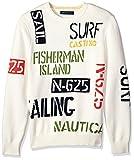 Nautica Men's Long Sleeve Signature Print Sweater, Marshmallow, Medium
