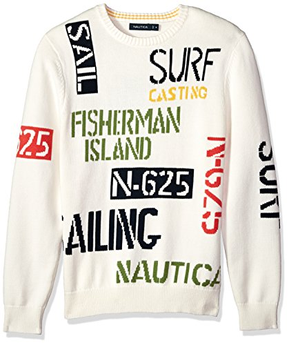Nautica Men's Long Sleeve Signature Print Sweater, Marshmallow, Medium by Nautica