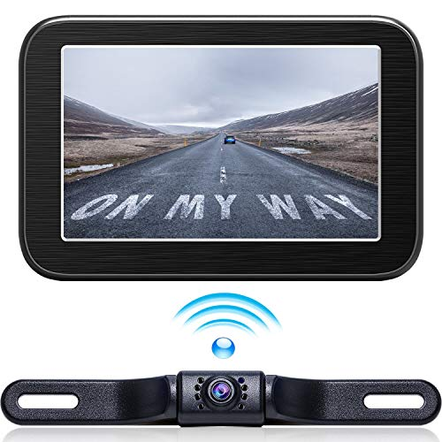 (Wireless Backup Camera with Monitor System 5'' LCD Wireless Monitor Rearview Revering Rear View Back up Camera for Backing Parking Small Car 12V Only E5 eRapta)