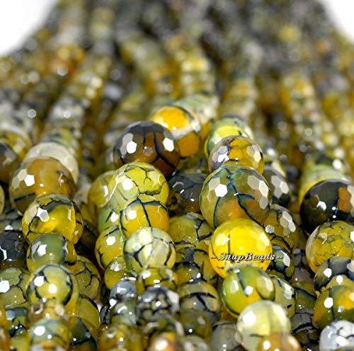 Cypress Agate Gemstone Smoky Yellow GRADATE Facet Round 14MM-6MM Loose Beads 17''