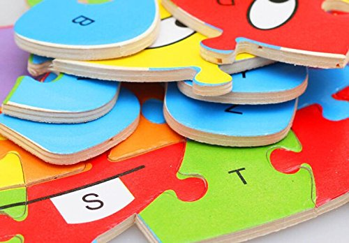 Fishinnen Colorful Wooden Animal Number and Alphabet Jigsaw Puzzle Educational Toy for Kids(Hippopotamus) by Fishinnen (Image #3)