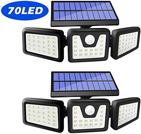 Harmonic Solar Motion Sensor Lights Outdoor,70 LED Solar Security Lights Outdoor,Adjustable 3 Heads, IP65 Waterproof,800LM Flood Light for Yard,Garage,Garden,Patio 2 Pack