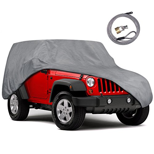 Jeep Wrangler Car Cover - Motor Trend Outdoor Car Cover for Jeep Wrangler 2 Door - All Weather Protection SUV Waterproof Cover