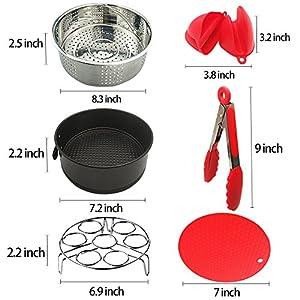 Instant Pot Accessories - 6 PCS Instant Pot Accessories Steamer Basket Egg Steamer Rack Silicone Potholder Mat Non-stick Springform Pan Kitchen Tongs Silicone Mini Mitts Suit for 5,6,8QT Pressure Cook