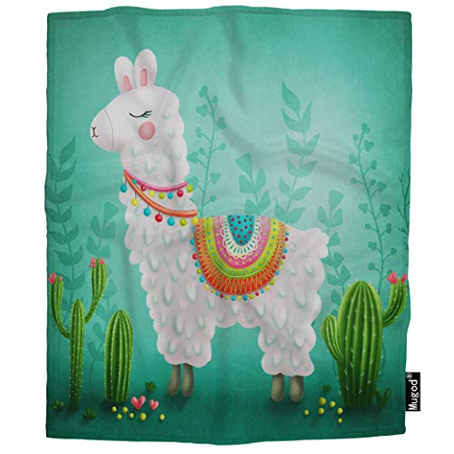 Mugod Llama Blanket Cute White Animal Alpaca Cactus Flower Green Pink Heart Fuzzy Soft Cozy Warm Flannel Throw Blankets Decorative for Boys Girls Toddler Baby Dog Cat 40X50 Inch ()